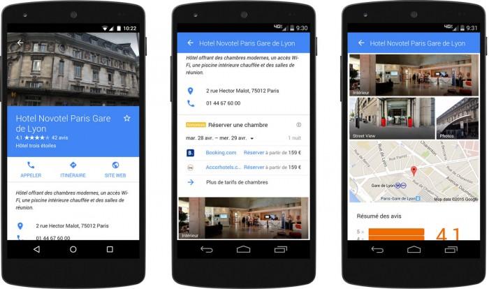 Exemple d'affichage Hotel Ads de Google