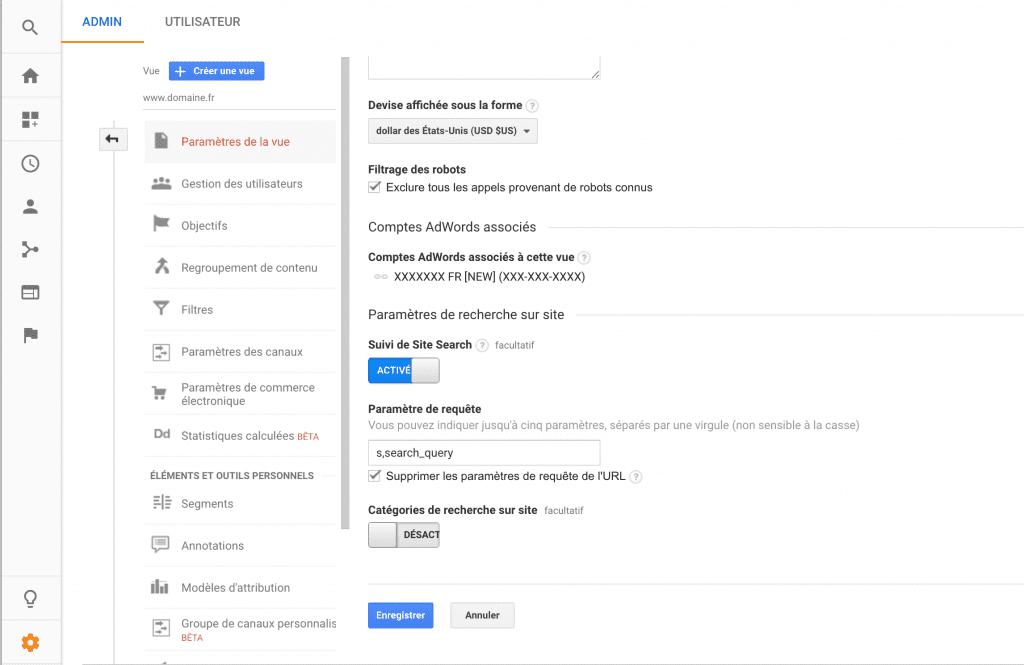 Vue détaillée de l'onglet affichant Site Search