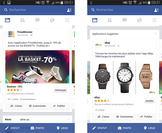Exemple de promotion d'application (Priceminister & eBay) via Facebook Mobile Apps Install