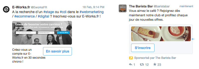 Exemple de tweets sponsorisés avec cartes Twitter