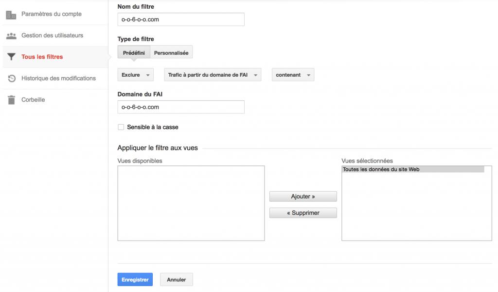 Google Analytics : filtre pour exclure le trafic du nom de domaine