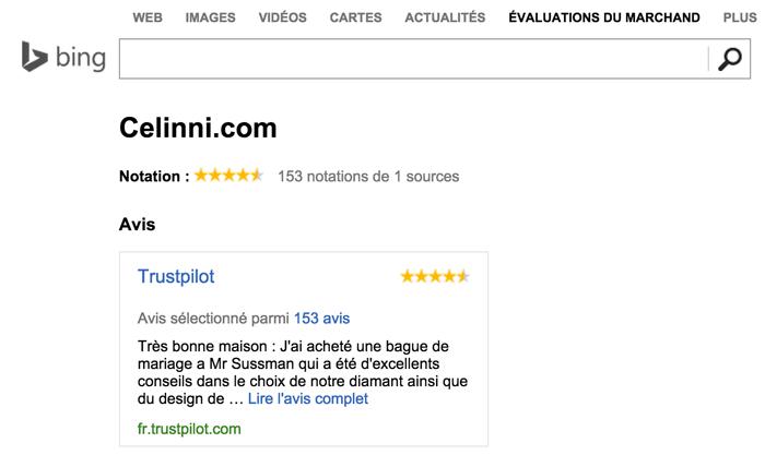 Avis clients intégrés sur Bing Merchant