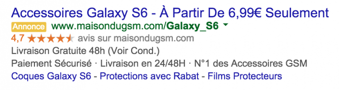 Exemple de Google Seller Ratings
