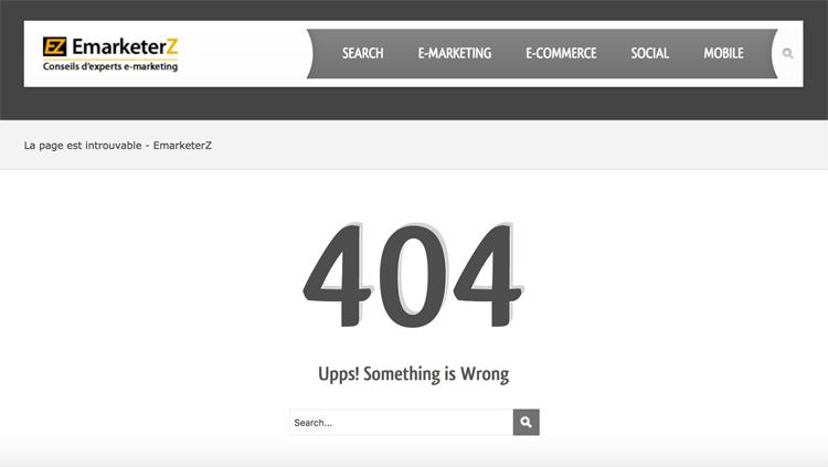 Exemple d'erreur 404 sur le site EmarketerZ.fr