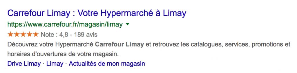 Carrefour : Exemple de résultat Google avec un store locator, les balises structurées et données enrichies schema.org