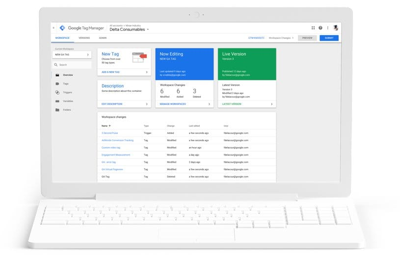 Screenshot de Google Tag Manager