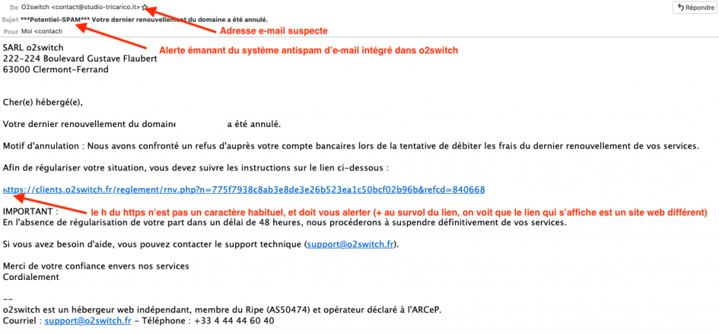 Exemple e-mail phishing o2switch