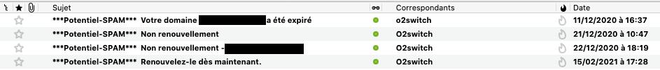 Liste des e-mails de phishing reçus sur o2switch