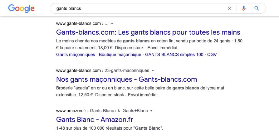 Gants blancs sur Google